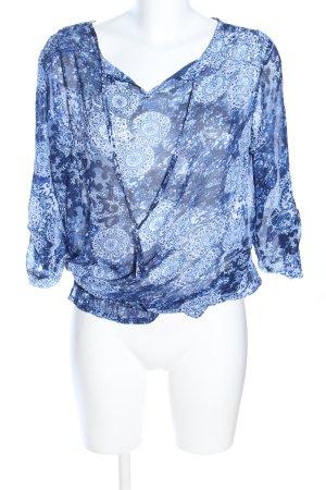 debbie shuchat Transparenz-Bluse blau-weiß Allover-Druck Casual-Look