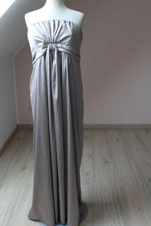 Debenhams Ballkleid Maxikleid Bandeaukleid Satinkleid Satin silber UK 16 Eur 40 42