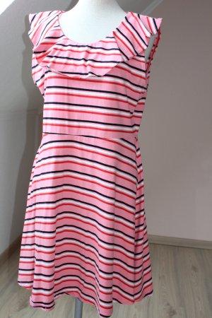 Debenhams Kleid kurz gerüscht gestreift weiß rot schwarz Gr. UK 16 EUR 44 D 42 M L