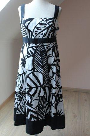 Debenhams Kleid weiß schwarz Blumen Schleife Baumwolle  Sommerkleid  40 L 12