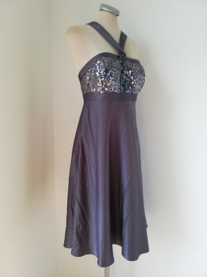 debut by Debenhams Gr. UK 10 EUR 38 S M grau Satinkleid Pailletten Abendkleid Cocktailkleid