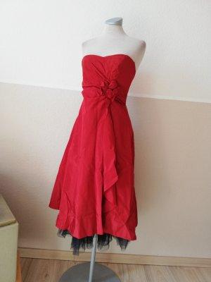 debut Kleid Bandeaukleid Taftkleid rot schwarz Midikleid Gr. UK 8 EUR 36  Petticoat