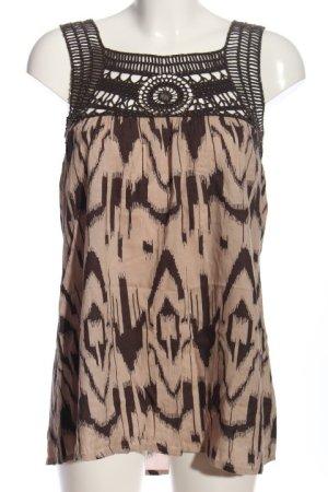 Deby Debo ärmellose Bluse creme-braun abstraktes Muster Casual-Look