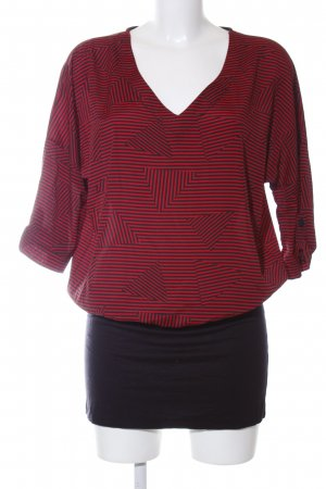 Deby Debo Kurzarm-Bluse rot-schwarz grafisches Muster Casual-Look
