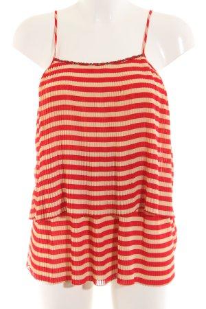 Deby Debo Top z cienkimi ramiączkami kremowy-czerwony Wzór w paski