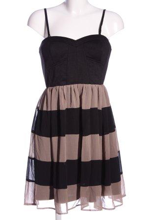 Deby Debo Trägerkleid schwarz-braun Streifenmuster Elegant