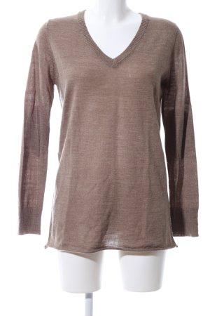 Deby Debo V-Ausschnitt-Pullover braun meliert Casual-Look