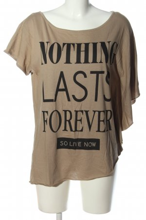 decay Boatneck Shirt brown printed lettering casual look
