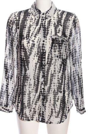 decjuba Langarmhemd weiß-schwarz abstraktes Muster Casual-Look