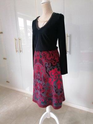 Deerberg Wool Skirt dark red-forest green