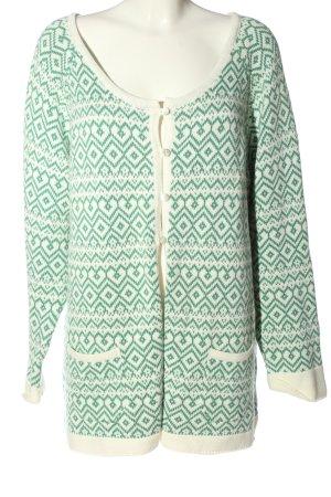 Deerberg Cardigan white-green graphic pattern casual look