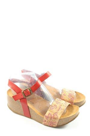 Deerberg Sandales à plateforme rouge-crème style décontracté