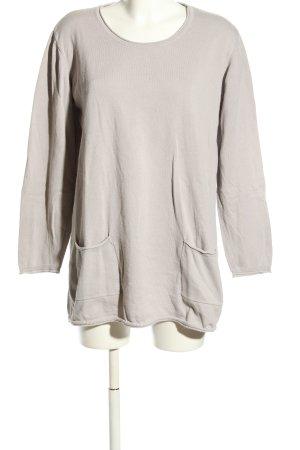 Deerberg Kraagloze sweater lichtgrijs casual uitstraling