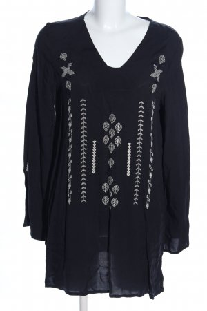 Deerberg Tunikabluse schwarz-weiß Motivdruck Casual-Look