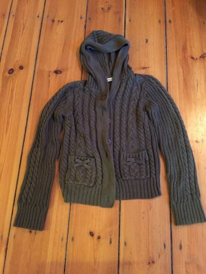 DeeWhy Coarse Knitted Jacket dark green-forest green cotton