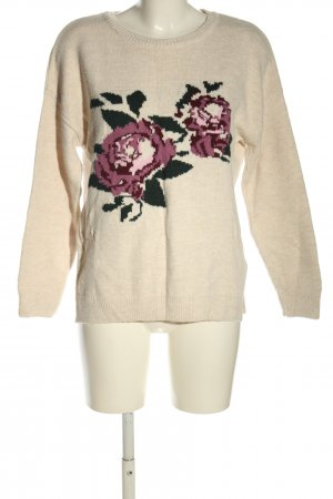 Defacto Knitted Sweater cream-lilac flower pattern casual look