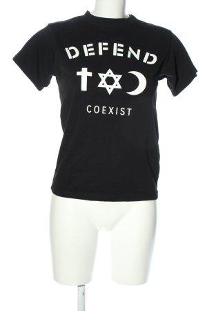 Defend T-Shirt schwarz-weiß Motivdruck Casual-Look