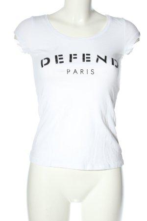 Defend T-Shirt weiß-schwarz Schriftzug gedruckt Casual-Look