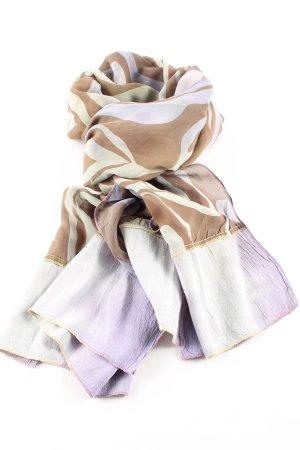 Bufanda de seda gris claro-marrón look casual