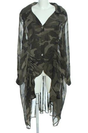 Vokuhila-Kleid khaki-schwarz Allover-Druck Casual-Look