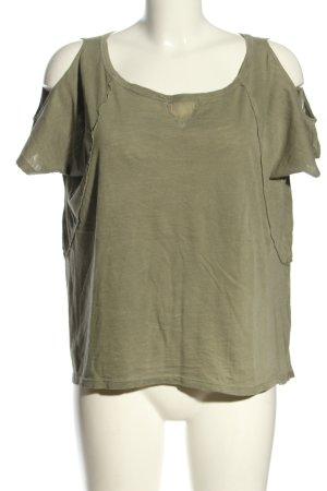 Deha Camicia a tunica verde oliva puntinato stile casual