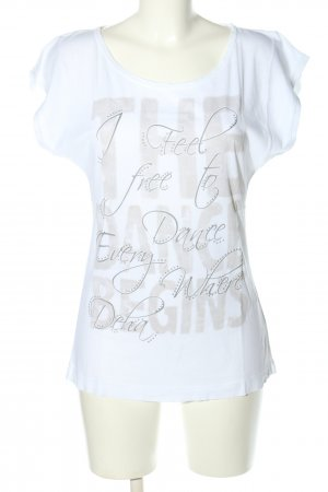 Deha T-Shirt white-light grey printed lettering casual look