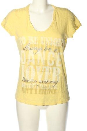 Deha T-Shirt blassgelb Schriftzug gedruckt Casual-Look