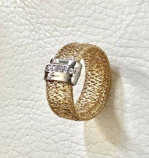 925er Silber Anneau avec pierre decorative doré