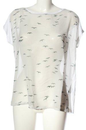 Deichgraf Short Sleeved Blouse white-black themed print casual look