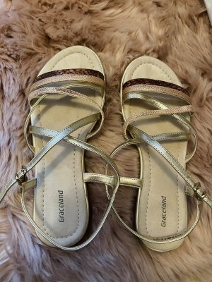 Deichmann Strapped Sandals gold-colored-pink