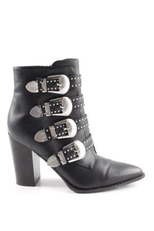 Deichmann Reißverschluss Stiefeletten schwarz silberfarben Street Fashion Look