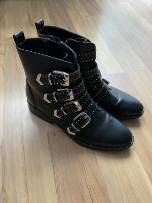 Deichmann Zipper Booties black-silver-colored