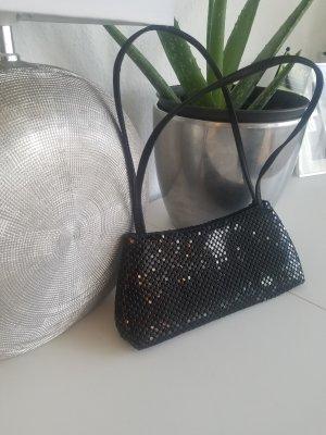Dekorative Abendtasche aus schwarzemMetall-Mesh (Metallplättchen)