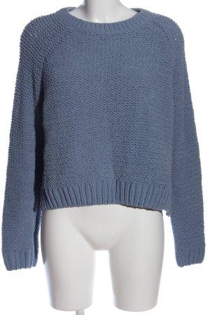 Delicate Love Häkelpullover blau Zopfmuster Casual-Look