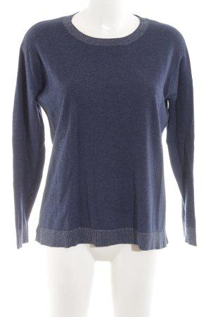 Delicate Love Rundhalspullover blau-silberfarben Streifenmuster Business-Look