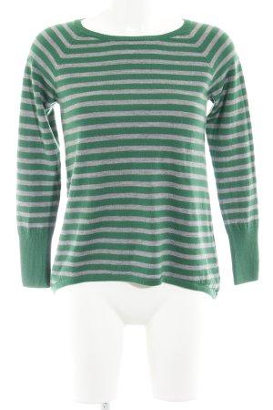 Delicate Love Rundhalspullover grau-grün Streifenmuster Casual-Look
