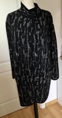 delicatelove Manteau en tricot noir-gris anthracite laine