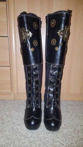 Demonia Gothic Boots black-gold-colored polyurethane