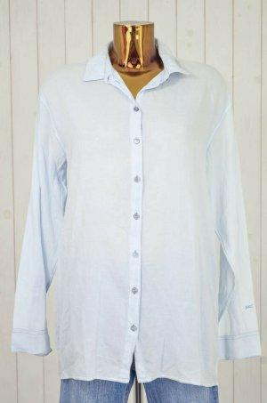 Denham Chemise à manches longues bleu azur-bleu clair coton