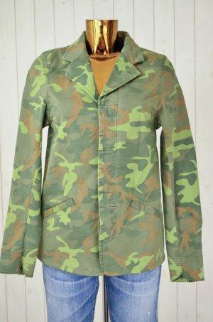 DENHAM Damen Jacke Camouflage Grün Armystyle Ungefüttert Baumwolle Elasthan Gr.M