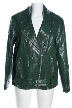Denham Veste en cuir vert style décontracté