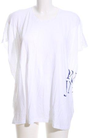 Denham Oversized Shirt weiß-blau Schriftzug gedruckt Casual-Look