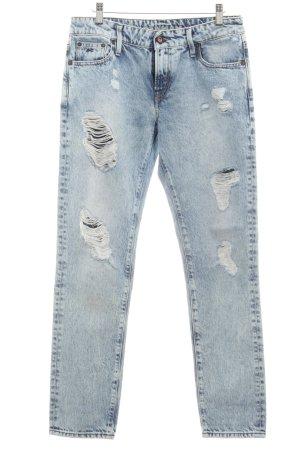 Denham Straight-Leg Jeans kornblumenblau-wollweiß Logo-Applikation aus Leder