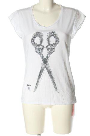 Denham Camiseta blanco-gris claro estampado temático look casual