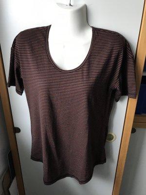 Denham. T-Shirt, schwarz-rost gestreift, Gr. S