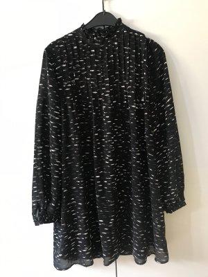 Denham Vestido de chifón negro-blanco