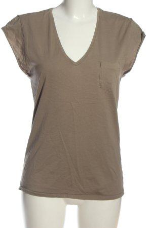 Denham Camisa con cuello V marrón look casual