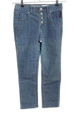 Denim 1982 3/4 Jeans blau-weiß Streifenmuster Casual-Look