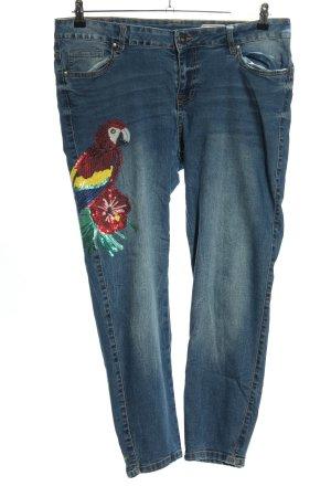 Denim 1982 Slim Jeans blau Schriftzug gedruckt Casual-Look