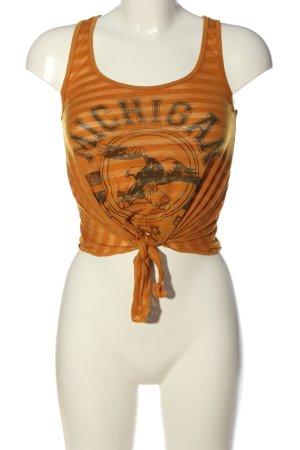 Denim Co. Crop-top orange clair-noir imprimé avec thème style décontracté